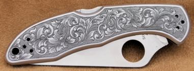 Engraved Spyderco Delica Knife 1, by Les Schowe